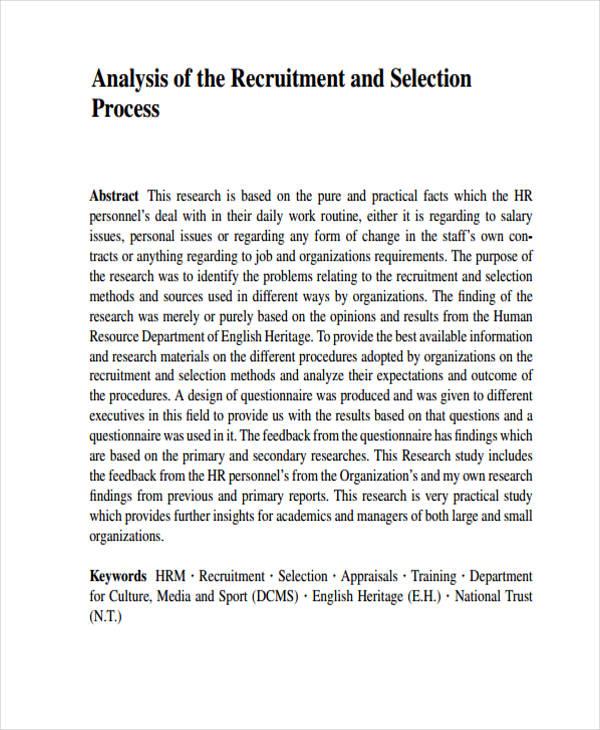 recruitment process analysis