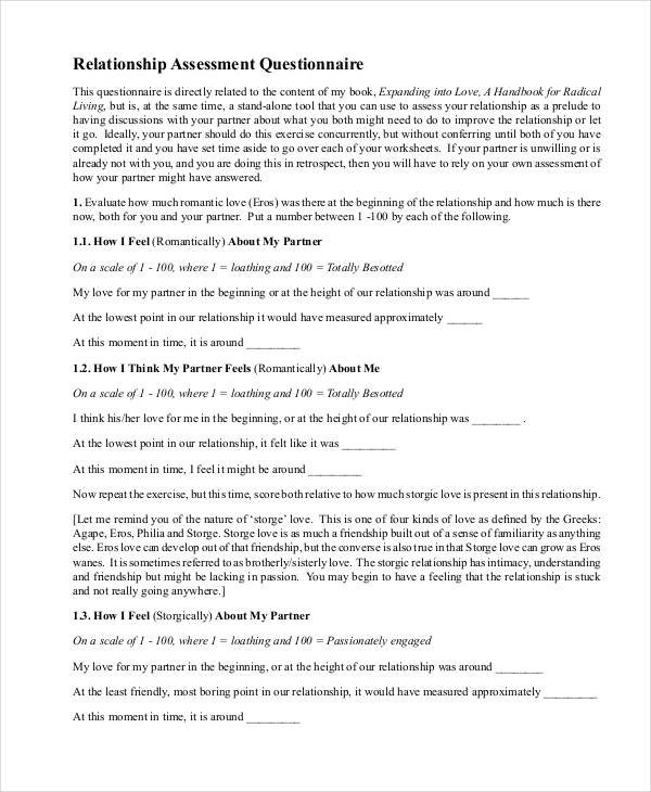 relationship assessment questionnaire in pdf
