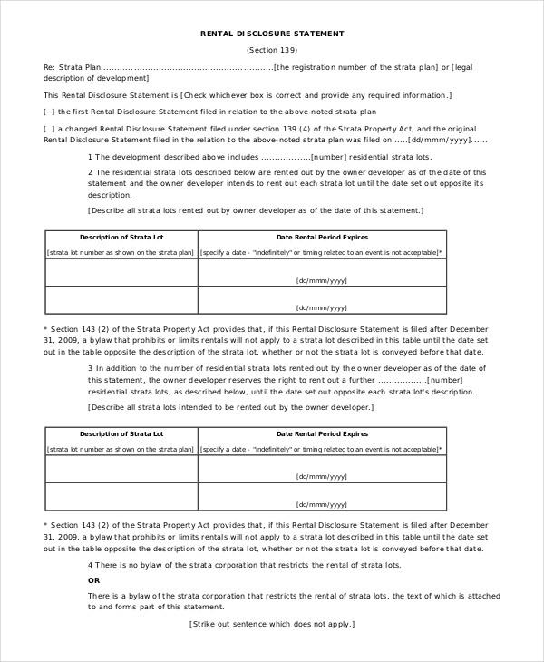 rental disclosure statement