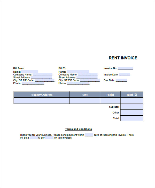 Sample Rent Invoice Templates - 8+ Download Free Documents In