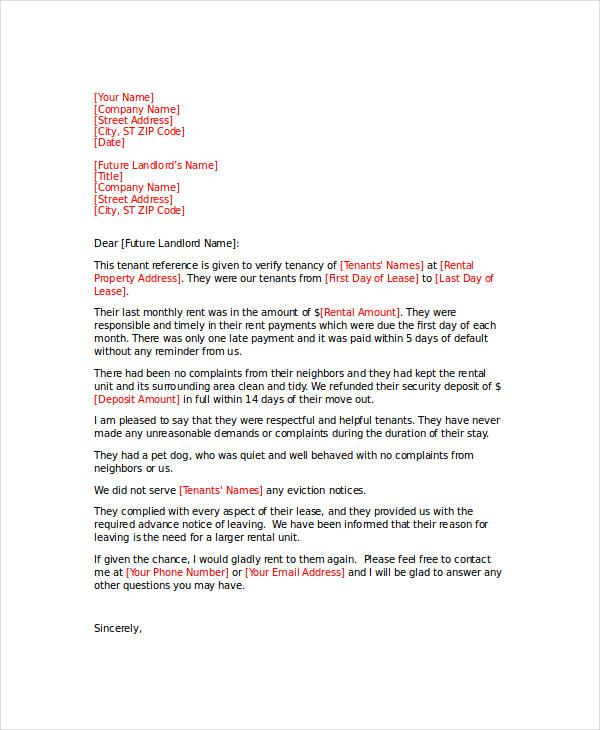rental property reference letter