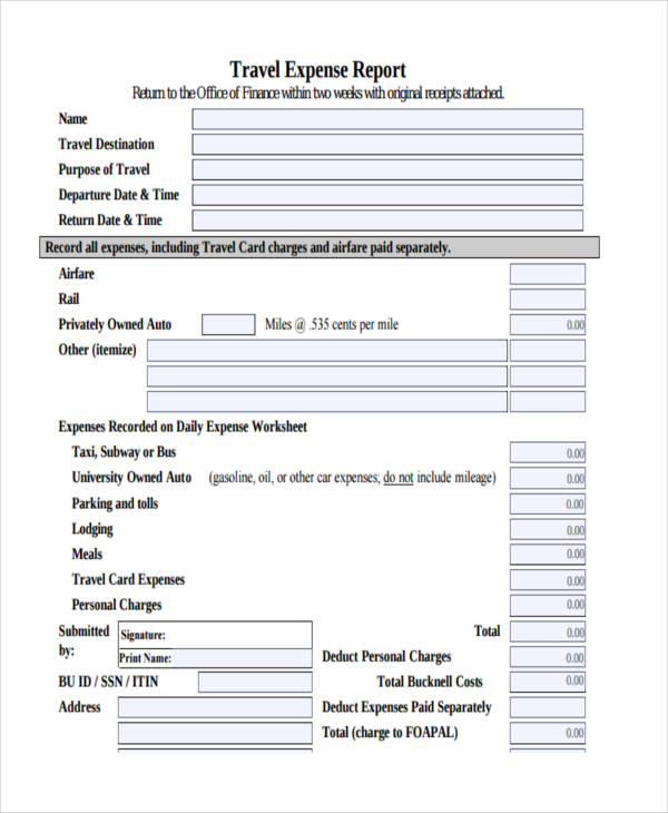 Expense Report Examples Samples