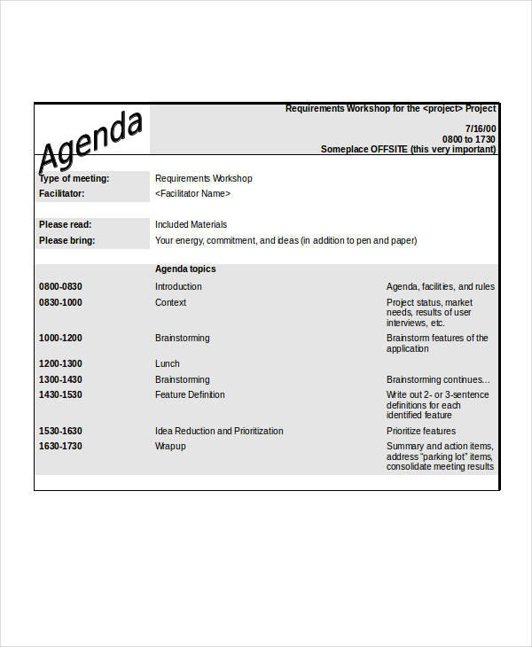 28 examples of agenda in word format requirements workshop agenda pronofoot35fo Images