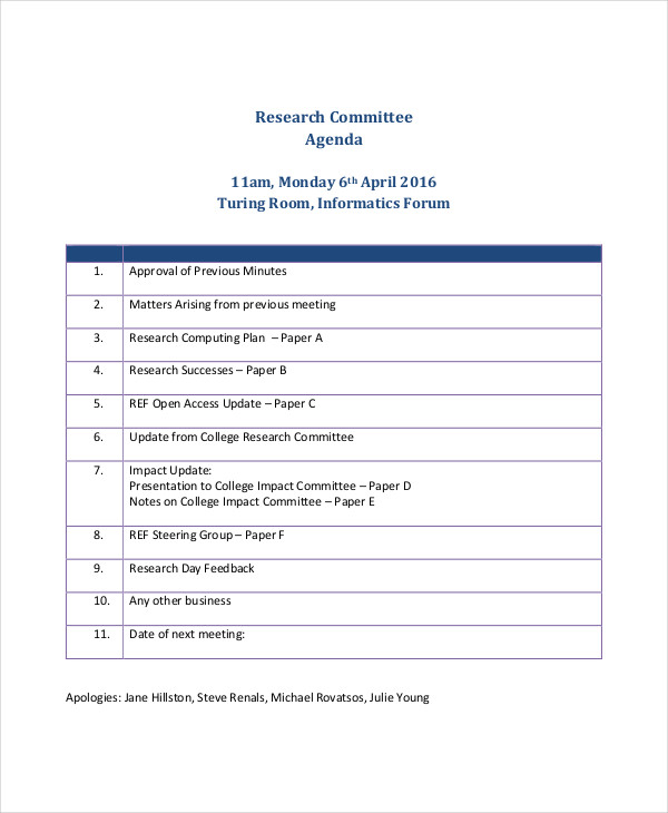 research committee agenda