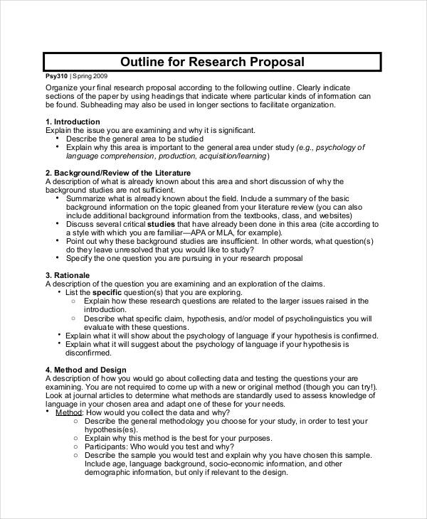 Research proposal outline psychology