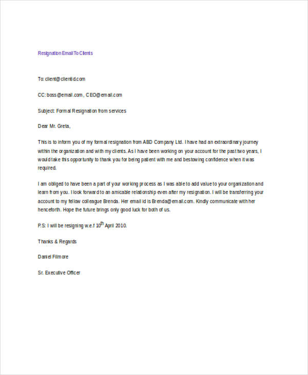 Sample Resignation Email Ajancicerosco