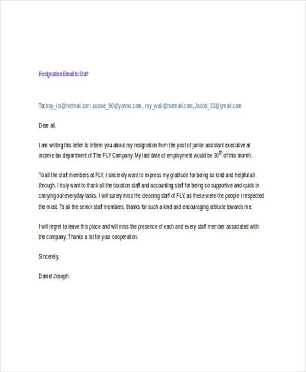 Resignation Email To Staff