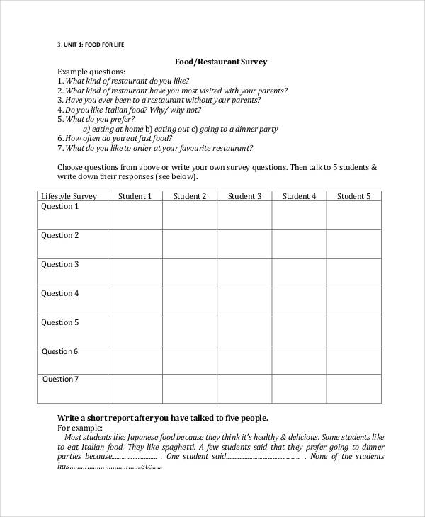 surveys about food 31 survey questionnaire exles pdf word exles 6820