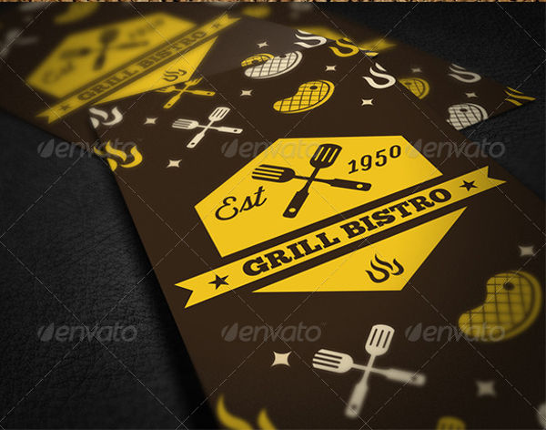 restaurant name card vector