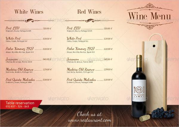 Restaurant Wine Menu Design