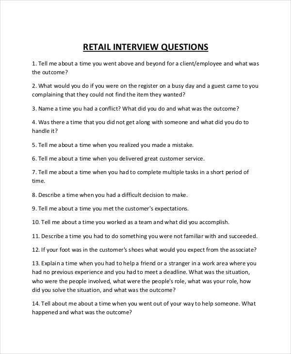 retail interview questionnaire in pdf