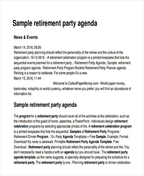 retirement party agenda sample