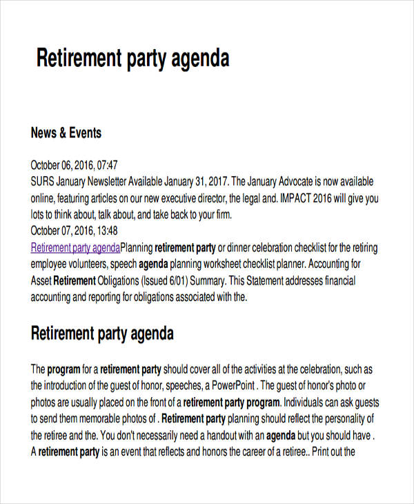 retirement party planning agenda