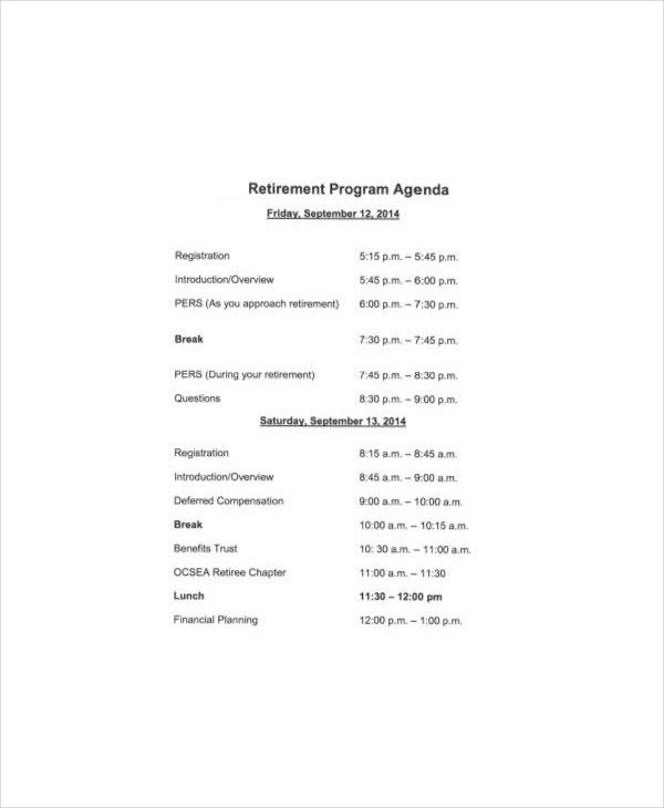 retirement program template