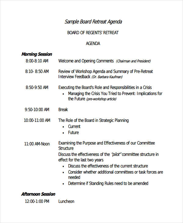 retreat agenda1