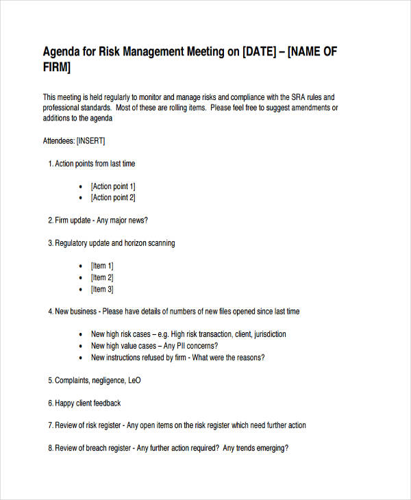 risk management meeting agenda
