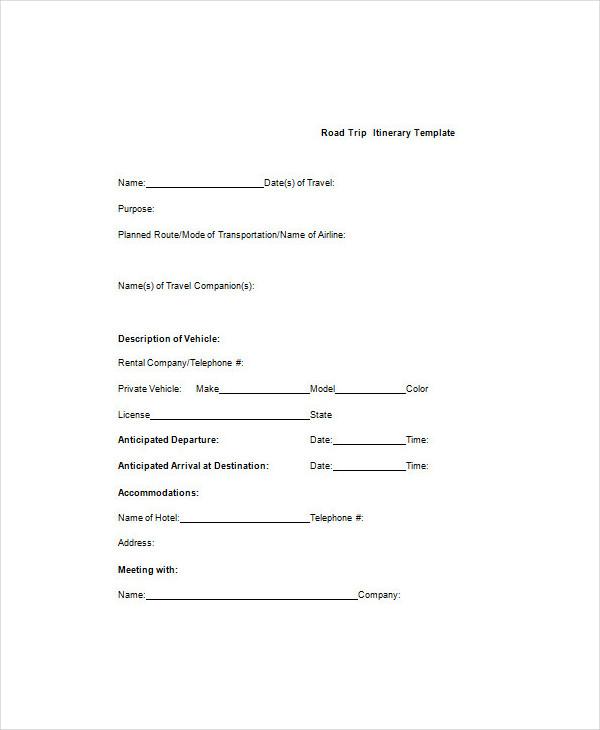 5+ Trip Agenda Examples, Sample