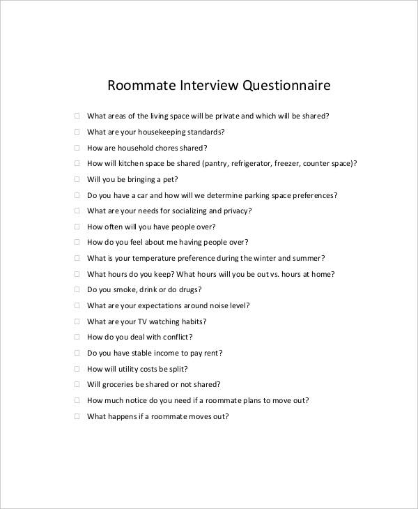 roommate interview questionnaire