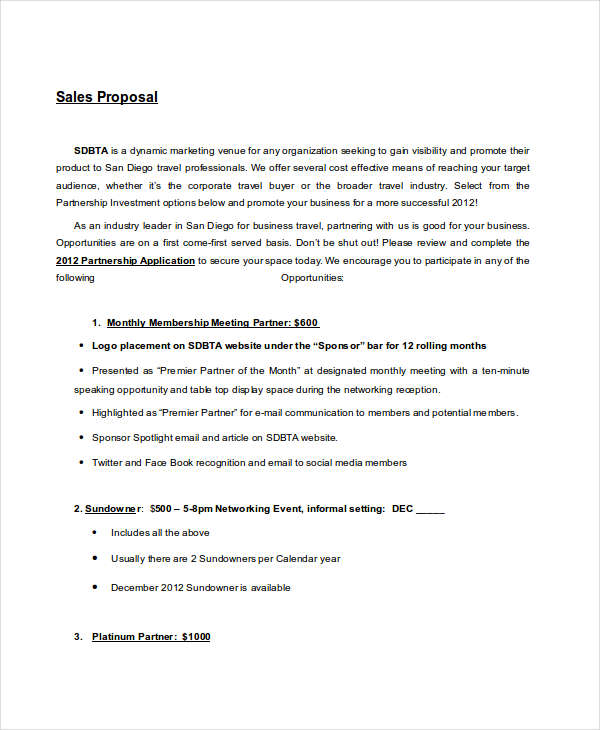 Exceptional Sales Proposal Example  Informal Business Proposal