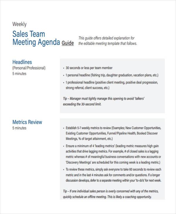 Team Agenda Examples Samples