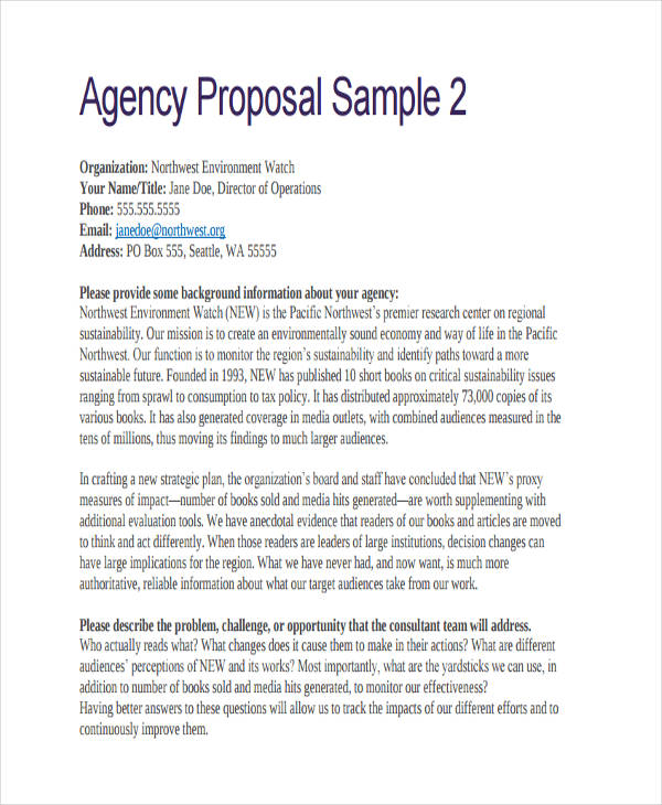 sample agency proposal