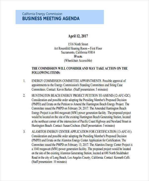 Business Meeting Agenda Examples Samples