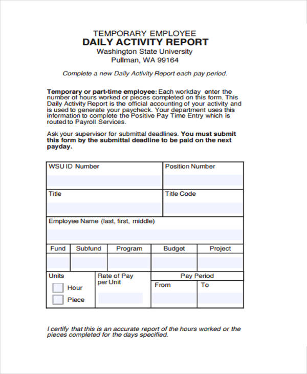 sample daily activity report