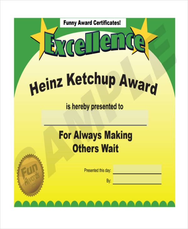 27 award certificate examples samples for Funny certificates for employees templates