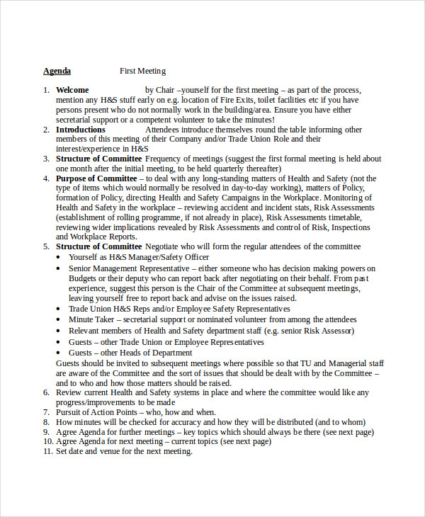 sample health and safety agenda