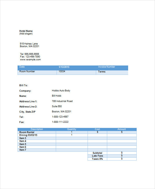 sample hotel invoice1