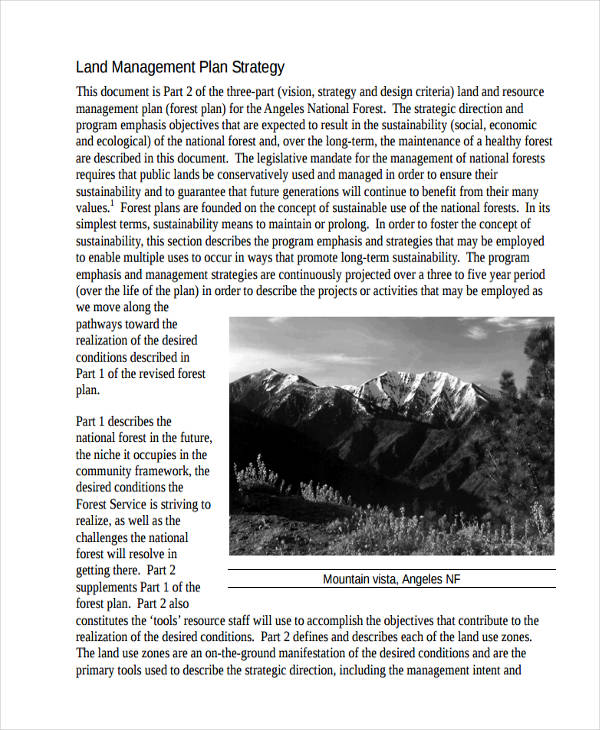 sample land management plan