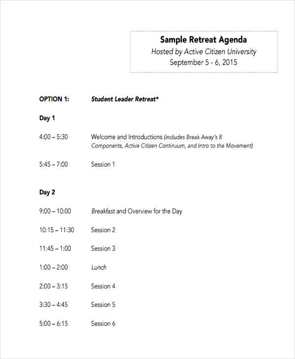 Retreat Agenda Examples Samples