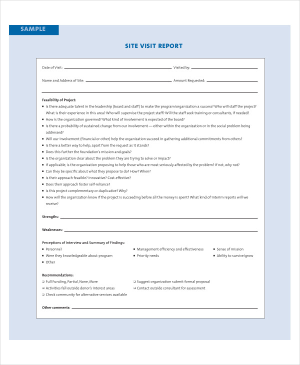 Visit Report Examples  Samples  Pdf Doc