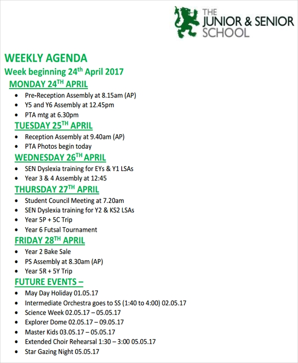 sample weekly agenda1
