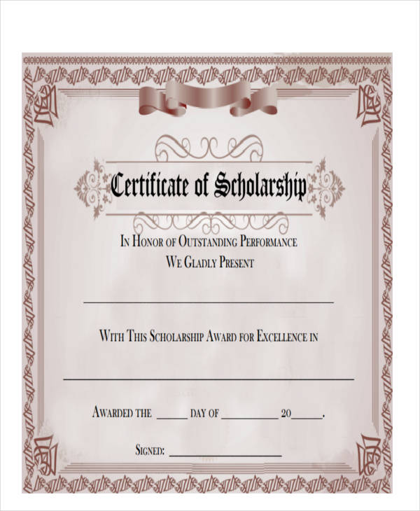 scholarship award certificate sample