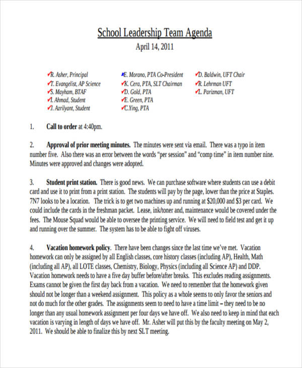 school agenda2