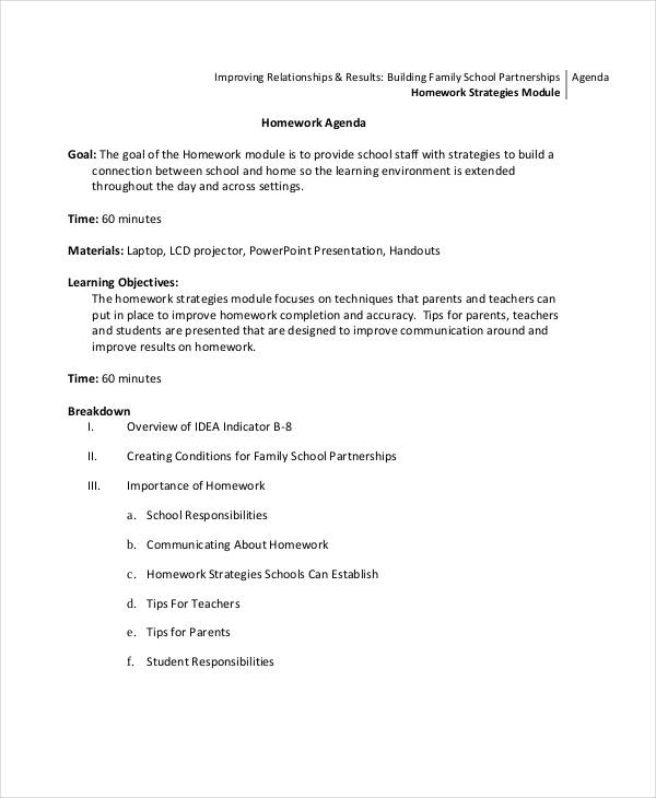 Agenda Examples Example Of School Agenda Template Sample School