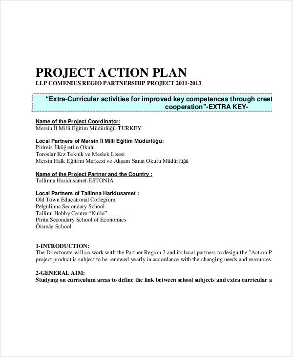 school project action plan