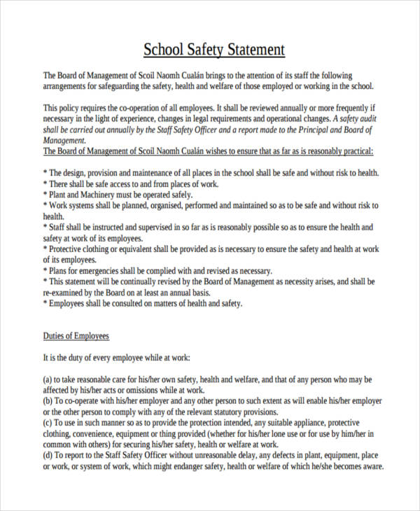 school safety statement