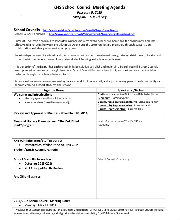 Agenda Examples. Example Of School Agenda Template Sample School