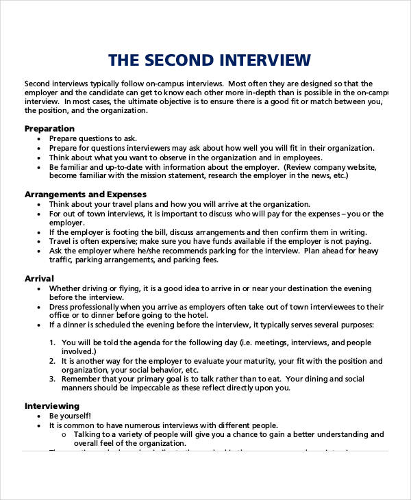 second interview agenda
