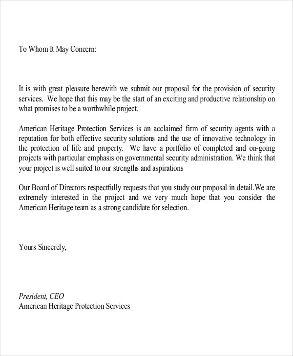 security proposal letter