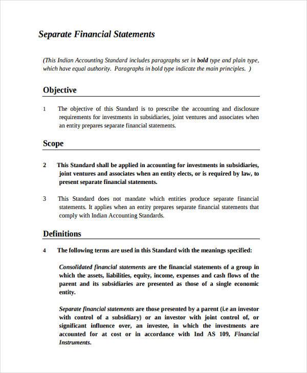separate financial statement