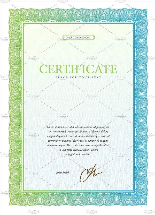 share certificate example