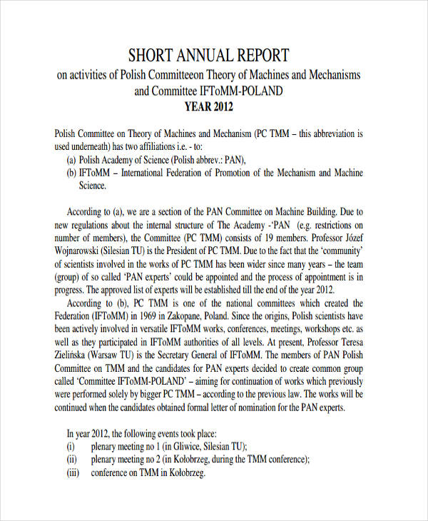 short annual report