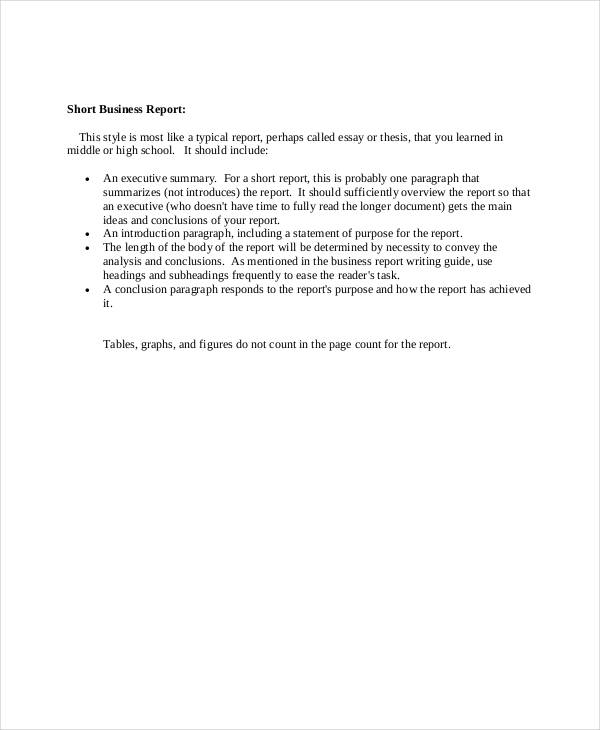 Short Business Report  How To Format A Business Report