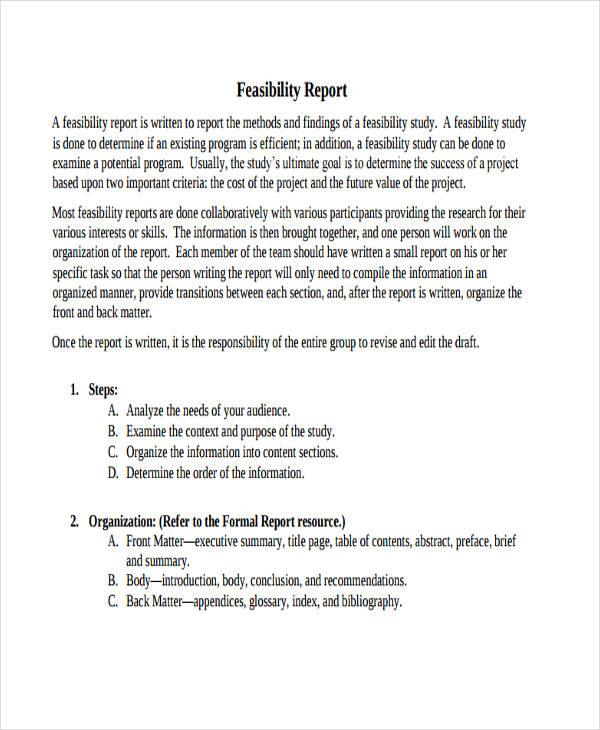 sample contents of feasibility study 11+ sample feasibility reports elements of a feasibility report is present in these samples sample project feasibility report you doing a feasibility study.