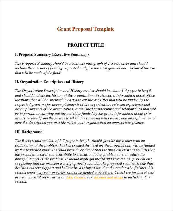 Short Proposal Examples  Samples  Pdf Doc