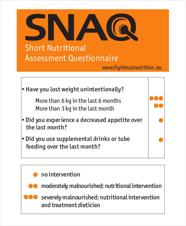 short nutritional assessment questionnaire