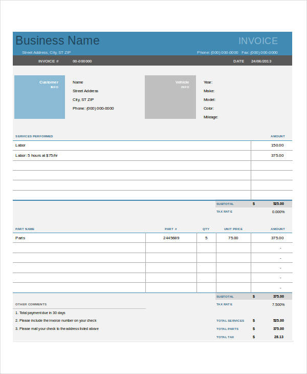 Simple Auto Repair Invoice Template.com